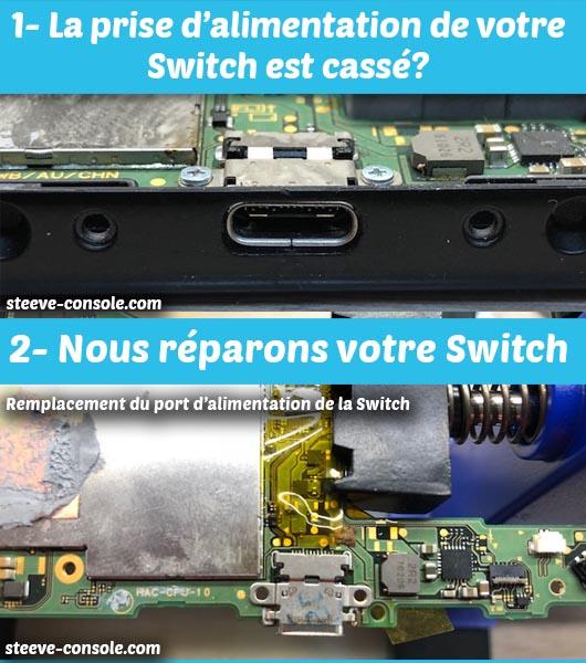 Réparation connecteur chargeur alimentation nintendo Switch.