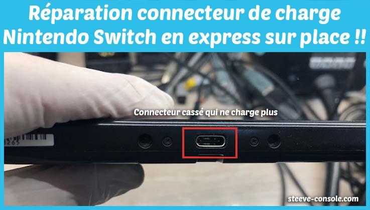 Réparation du connecteur de charge, prise d'alimentation nintendo switch qui ne se recharge plus sur Paris chez Steeve console.