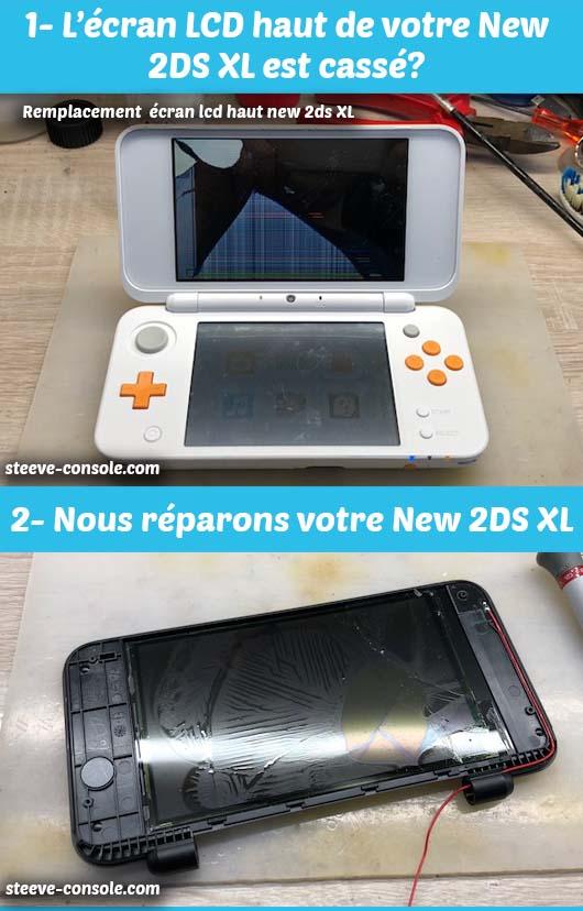 Réparation de l'écran supérieur de votre nintendo new 2ds xl sur paris chez Steeve console.
