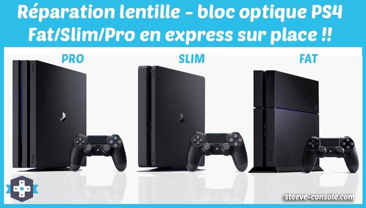 Réparation lentille, bloc optique PS4 sur Paris en express.